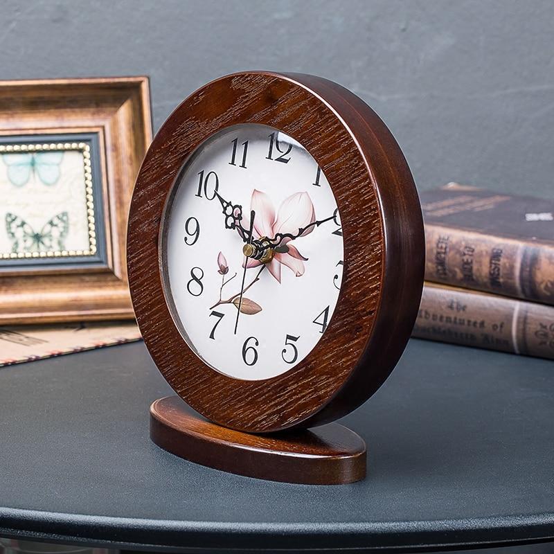 Style Pastoral fleurs motif muet bureau en bois aiguille horloge bureau numérique Quartz horloge maison créative décoration ornements - 3
