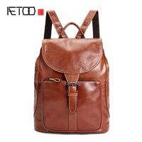 AETOO Ladies shoulder bag leather backpack oil wax head layer cowhide college wind bag large capacity female package