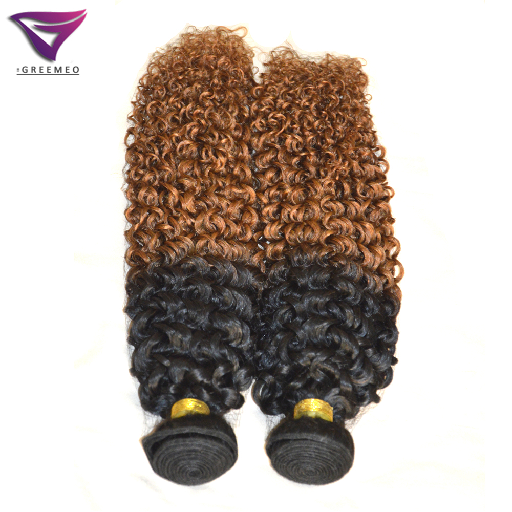 Wholesale Hair Weave Ombre Curly 2pcs Natural Black Hair With Auburn