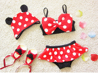 Cartoon Baby Girls Mouse Swimming Clothes Sets Hats Tube Tops Briefs Bowknot Kids Swimsuits Cute Toddler