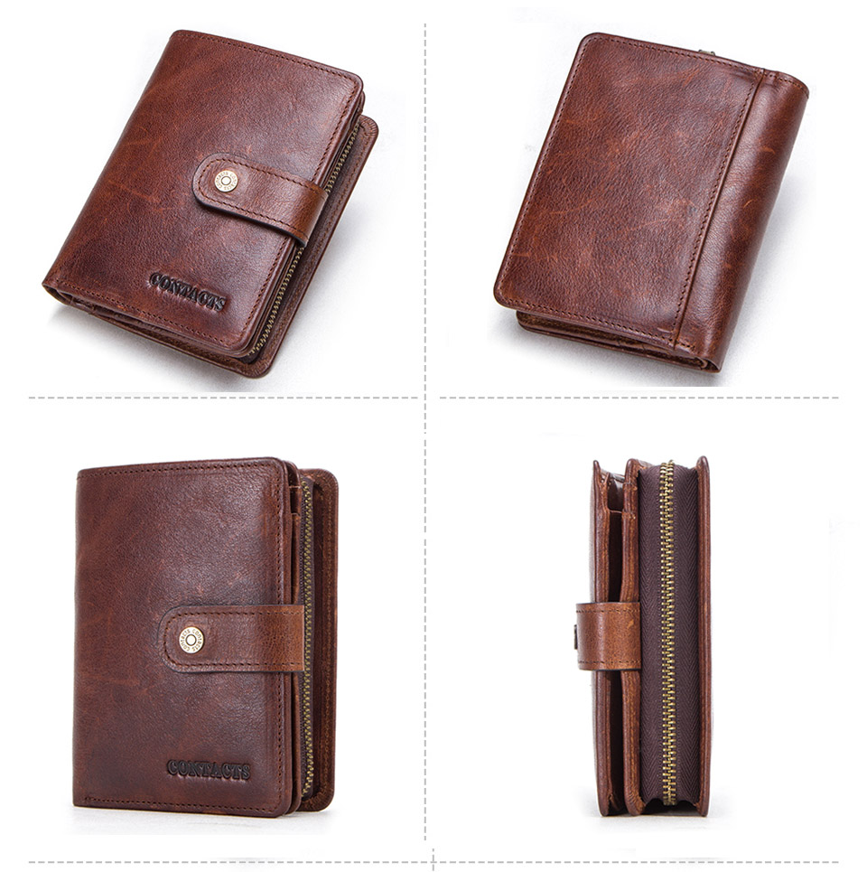 HTB1 zdAaxrvK1RjSszeq6yObFXaD - CONTACT'S genuine leather RFID vintage wallet men with coin pocket short wallets small zipper walet with card holders man purse