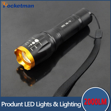 2000Lm CREE XM-L T6 focus adjustable outdoor camping 5 modes led flashlight torch light lamp by 18650 free shipping