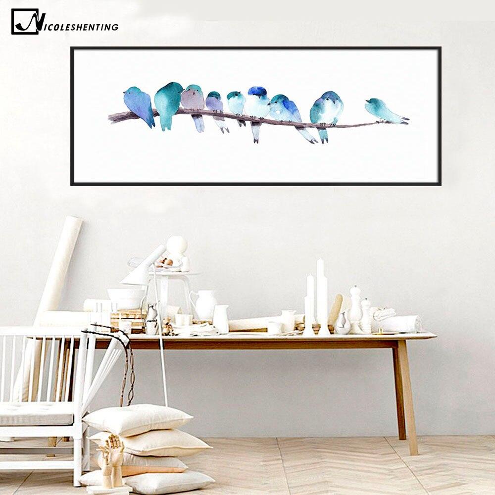 Lange Muur Decoreren.Aquarel Dier Vogels Poster Minimalistische Kunst Canvas Schilderij