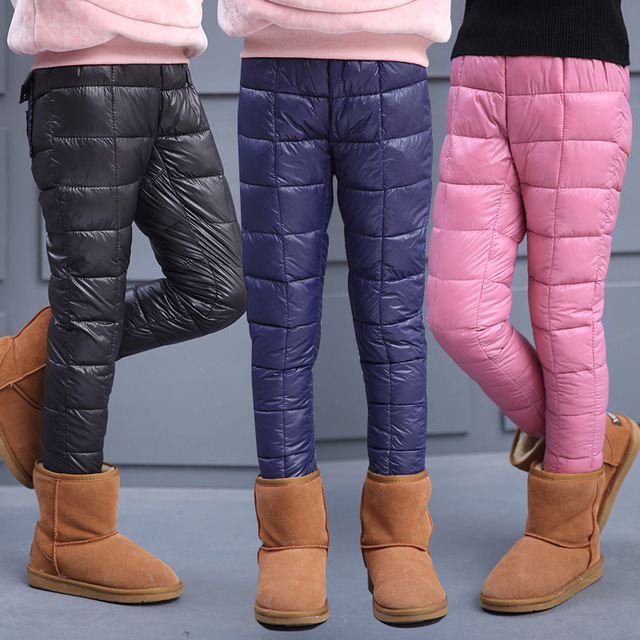 winter kids waterproof trousers girls leggings file children duck down warm boot pants 11 years. Black Bedroom Furniture Sets. Home Design Ideas