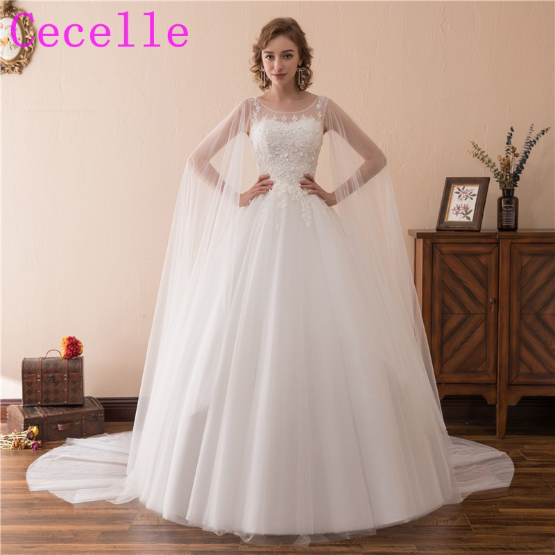 2019 New Ball Gown Tulle Wedding Dresses With Cape Corset Back Floor Length Princess Country Bridal Gowns Custom High Quality