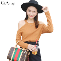 European Style Halter Strapless Autumn And Winter Long Sleeve Was Thin Loose Knit Sweater Female D3112