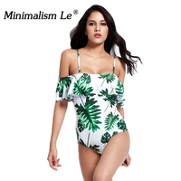Minimalism Le 2018 New One Piece Swimsuit Sexy Bikini Bandage Swimwear Women Floral Biquini Print Leaf