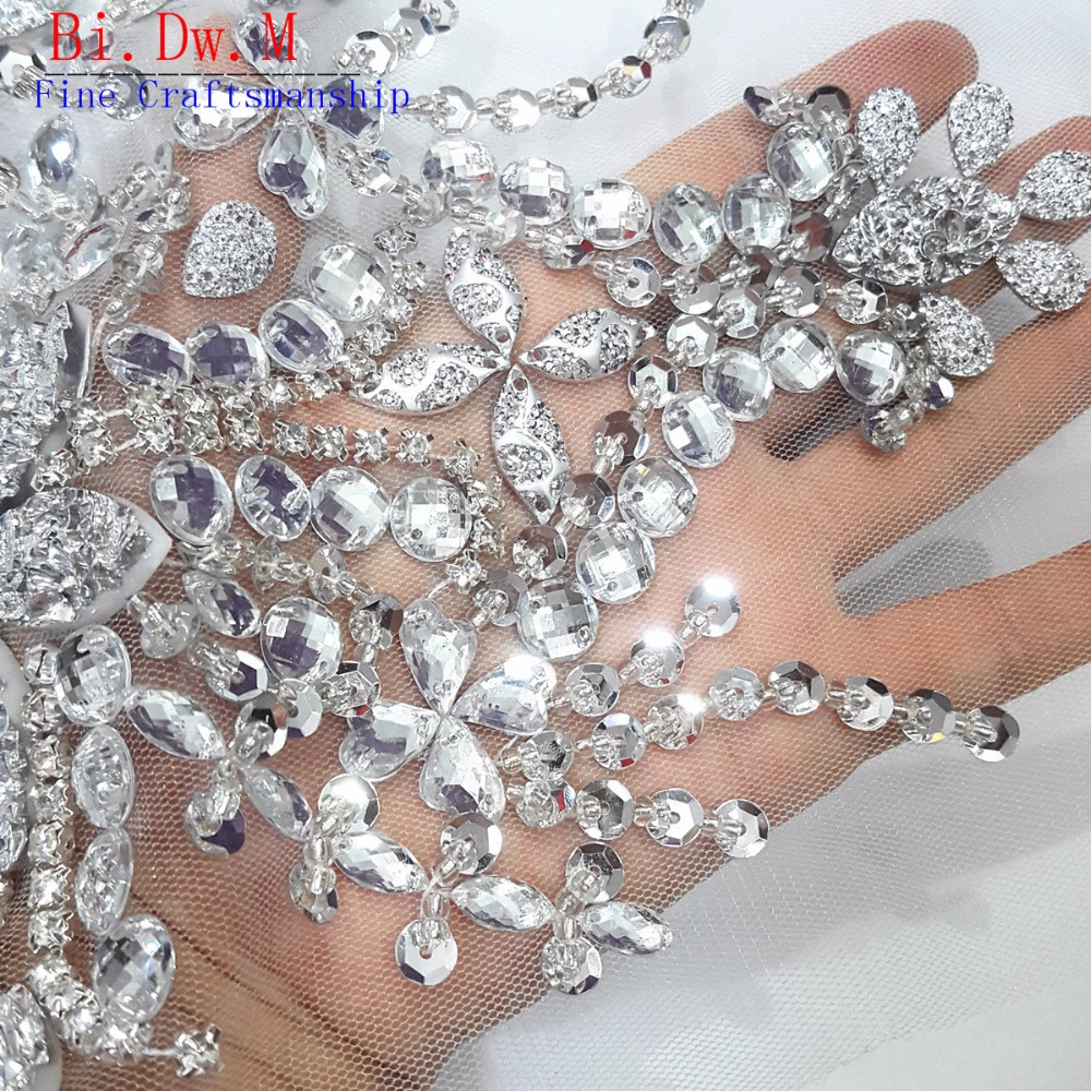 Dw.M Fine Craftsmanship Silver Crystal Rhinestone Beaded Sewing Appliques  Patches 22x34cm For Wedding Decoration Bridal Dress-in Patches from Home    Garden ... aaa92e8797af