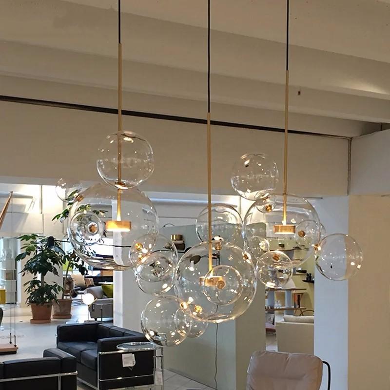 Modern Led Pendant Lights Orifice Bronze Plating Glass Ball Pendant Lamp Ball Bar Corridor Nordic Lamp Restaurant Hotel Hanglamp Ceiling Lights & Fans Pendant Lights