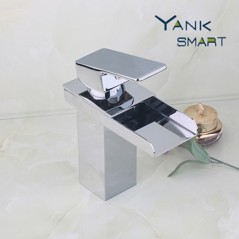Waterfall Bathroom Basin Sink Brass Mixer Tap Vanity Faucet Chrome Finish Single Handle Wide Spout Water Mixer Tap waterfall spout basin sink faucet golden finish bathroom mixer tap solid brass single handle with hole cover plate