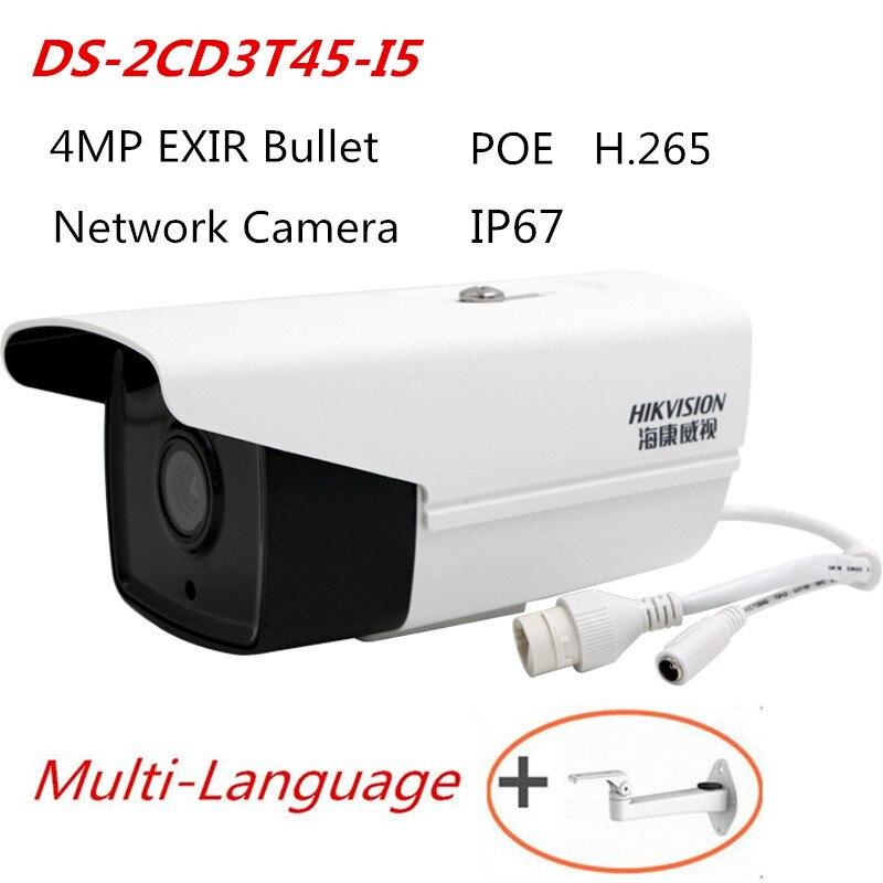 Hikvision 4MP DS-2CD3T45-I5 Remplacer DS-2CD2T42WD-I5 IR HD CCTV Caméra EXIR Bullet Réseau Support de Caméra POE H265 IP66