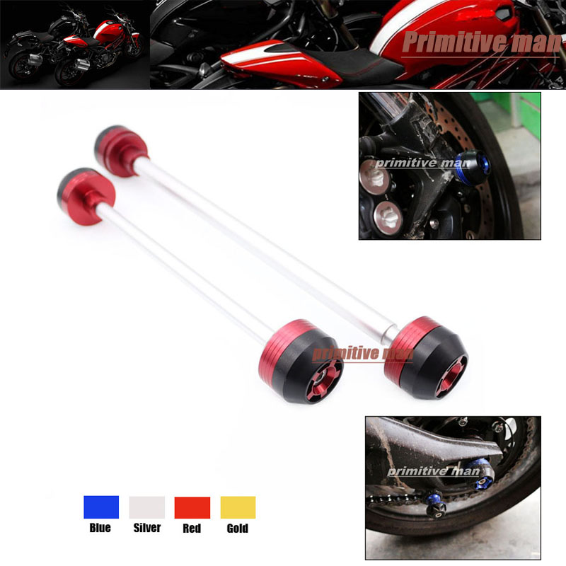 ФОТО Motorcycle For DUCATI MONSTER 821 2014 Front & Rear Axle Fork Crash Sliders Wheel Protector Red