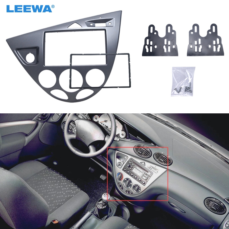 LEEWA Gray Car 2DIN Stereo Panel Fascia Radio Refitting Dash Trim Kit For Ford Focus 98~04(LHD)/Fiesta 95~01(LHD) #CA5054 lhd