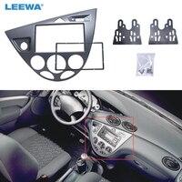 Silver Car 2DIN Stereo Panel Fascia Radio Refitting Dash Trim Kit For Ford Focus 98 04