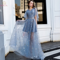 Gray Blue Prom Dresses 2019 Cut Out Short Sleeves Long Embroidery Tulle V Neck Pleats Belt Flow Evening Party Graduation Gowns