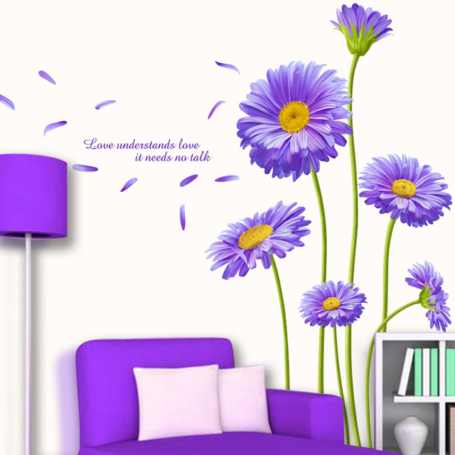 [SHIJUEHEZI] Netherlands Chrysanthemum Flower Wall Sticker PVC Material  Aster novi-belgii Mural Art for Living Room Decoration