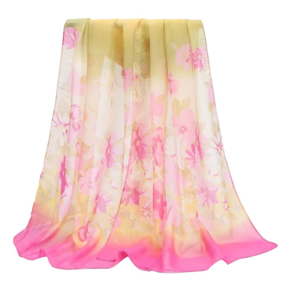 Georgette   Scarves     Wraps   Women's Silk Feeling Chiffon Shawl Thin Bandana Summer Floral Beach Shawl WZ11