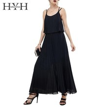 HYH Haoyihui Femme Summer Stylish Sexy Trousers Open-back Cross-strap Round-neck Solid Color Commuter Pleated Black Jumpsuit