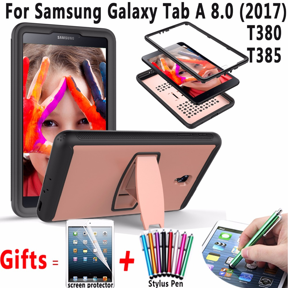 Case for Samsung Galaxy Tab A 8.0 2017 T380 T385 Tablet Shockproof Heavy Duty Cover with Stand & Screen protector for Tab A2 S