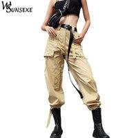 High Waist Streetwear Cargo Pants Women Cool Khaki Solid Color Pant with Belt Elastic Feet Female Fashion Spring Zipper Trousers