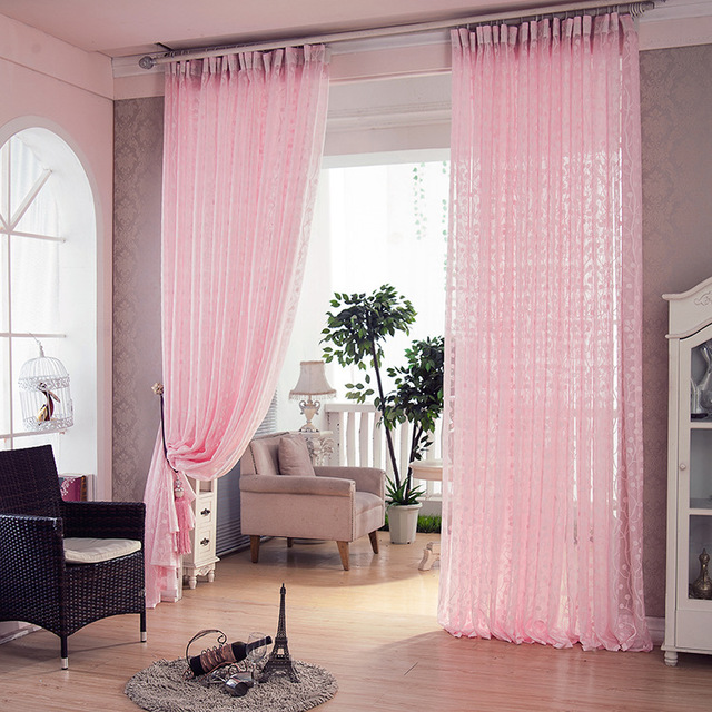 Pink Jacquard Luxury Living Room Curtains Kitchen Voile Crochet Room ...