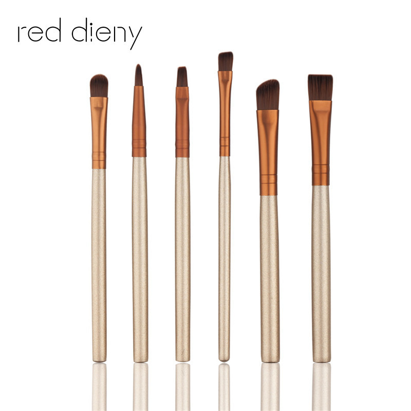 6PCS Champagne Gold Eye Shadow Makeup Brushes Set Pro Eyeliner Eyeshadow Eyebrow Lips Brushes Maquiagem Beauty Makeup Tools