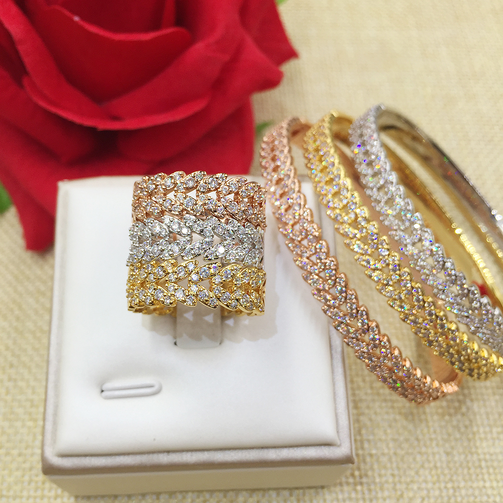 GODKI Fashion Luxury Super Shiny Wheat AAA Cubic Zirconia Women Baguette Bracelet Bangle And Ring Set