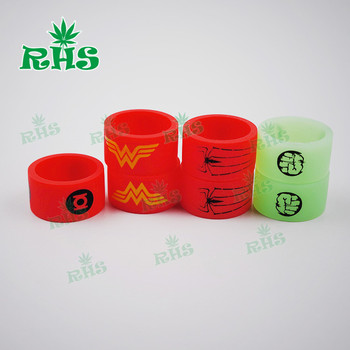 20pcs Unique Design Green Lantern/Wonder Woman Series Non-slip Silicone Rubber Band Vape Rings for RBA/RDA Ecig Mods