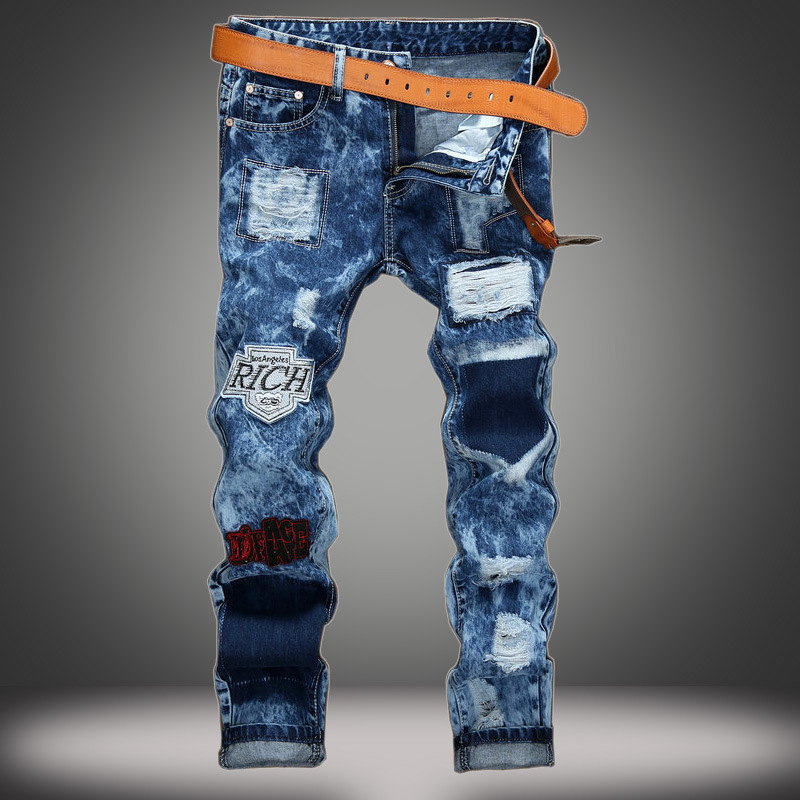 ФОТО Badge jeans male straight European and American men 's jeans hole patch Slim snowflake men' s trousers