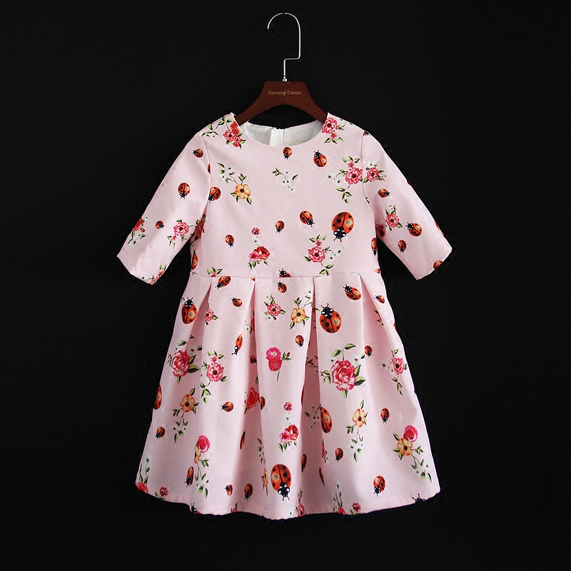 Autumn pink floral half sleeve pleated child girl dress mother daughter dress mom and kids girls party dress family look clothes half dress roobins half dress