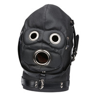 Pu Leather Adult Game Toy Headgear Eye Mask and Open Mouth Penis Plug Head Cover Bdsm Fetish Restraint Open Dildo Flirting Toy.