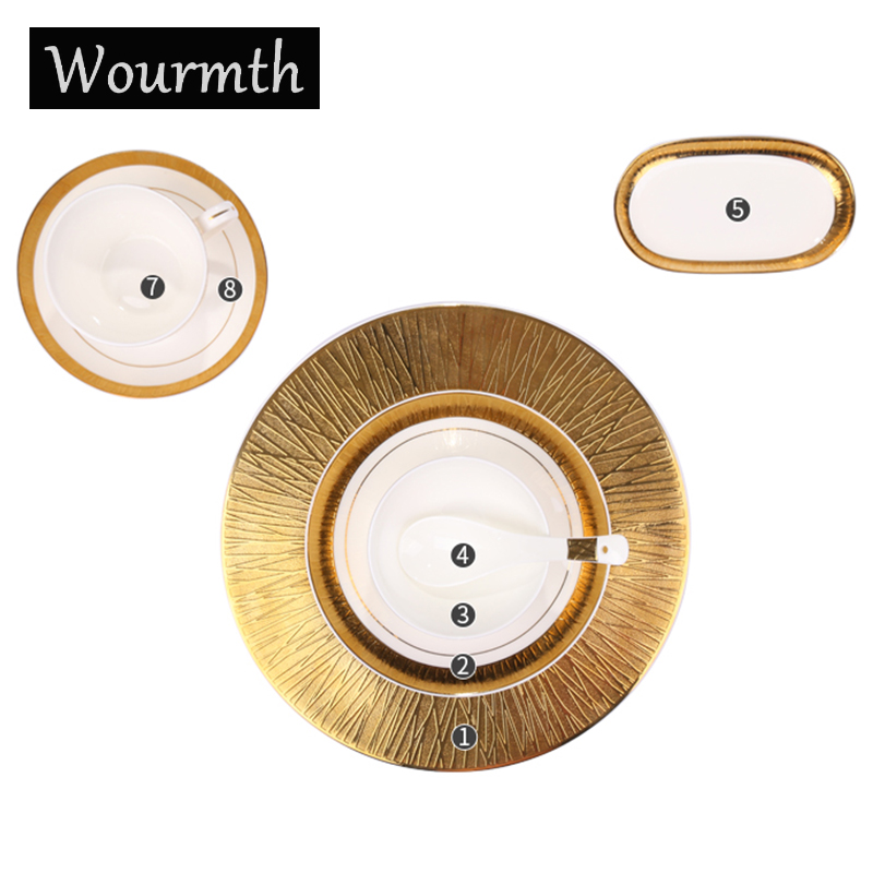 Wourmth 8pcs/set Bone China Porcelain Dinnerware Set Western Tableware Sets Dinner Plates Ceramic Dishes Coffee Cups With Saucer