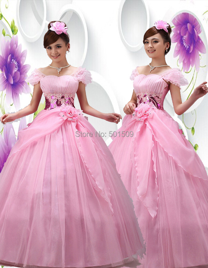 Free ship pink floral beading long medieval dress Renaissance ball ...