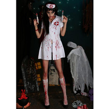 лучшая цена Fashion Nurse Costume Dress Clothes Party New Adult Halloween Party Cosplay Horror Clothes Bloody Scary Girl Women