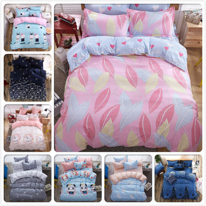 Feather Cartoon Pink Bedding Set 4pcs 3pcs Child Kids Bed Sheet 1.5m Duvet Cover 1.8m 2.0m 2.2m Bedlinen Twin Double Single Size