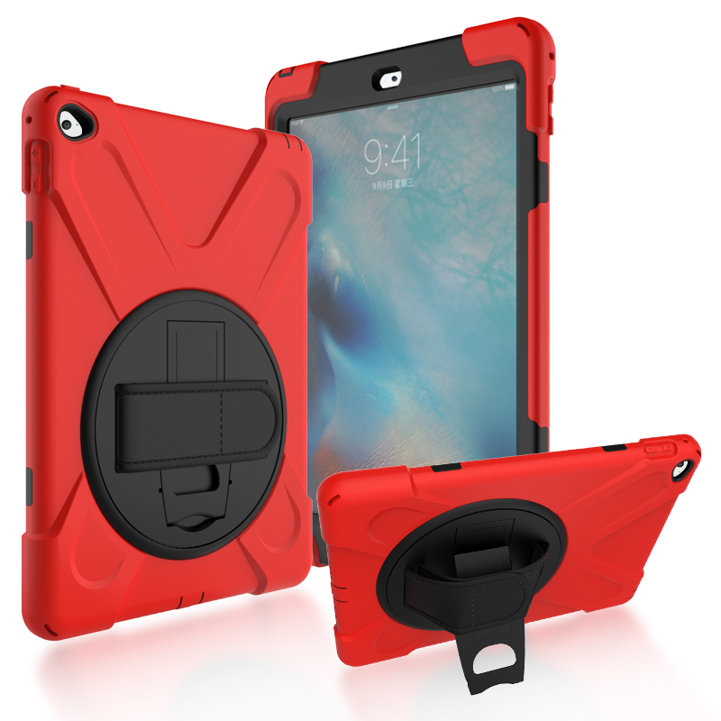 Case For iPad Air 2 case Shockproof Kids Protector Heavy Duty Silicone Hard Cover kickstand design Hand bracel For iPad 6 / Air2 hand strap shockproof stand case armor cover for ipad air 2 ipad 6 full protective stand case for ipad air2 ipad6