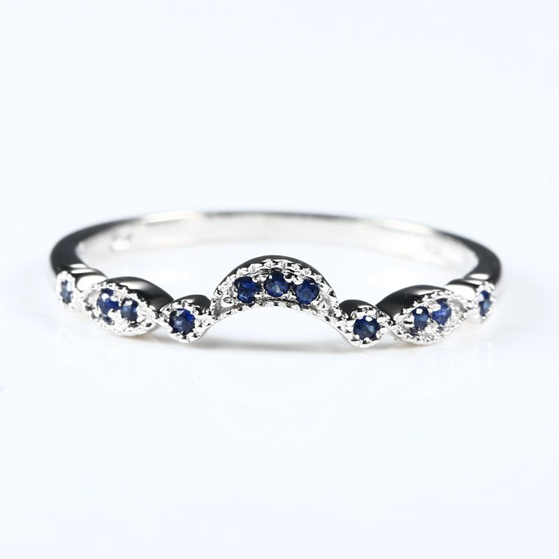 Sterling Silver 925 White Gold Color Natural Sapphire Engagement Ring Wedding Band Women Fine Jewelry Size 3.5 12