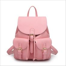2016 New Women Leather Backpack Black Bolsas Mochila Feminina Large Girl Schoolbag Travel Bag Solid Candy Color Green Pink Beige