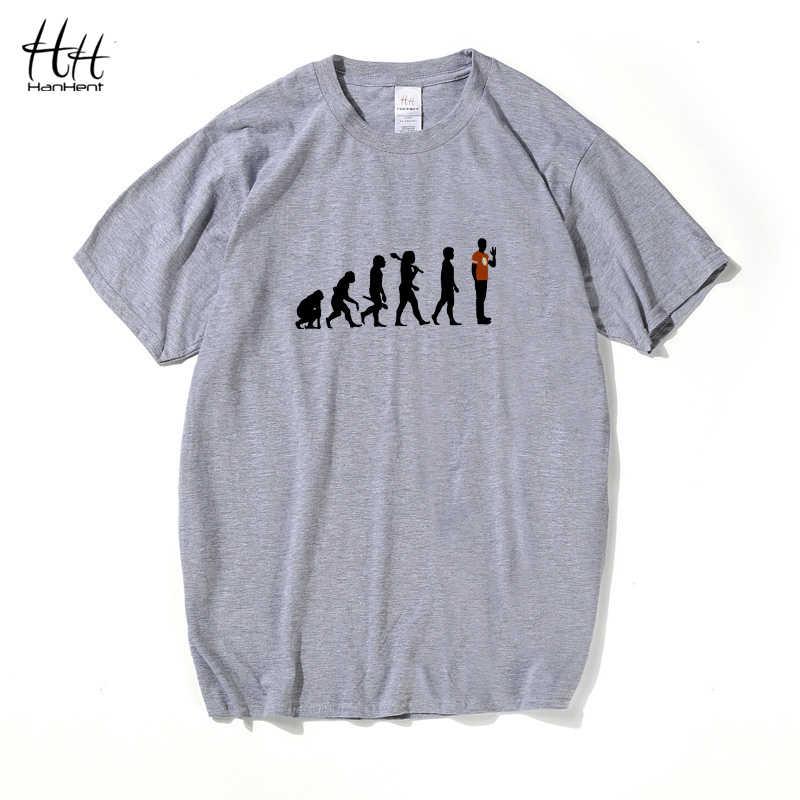 HanHent Sheldon Evolution, футболки для мужчин, летние, The Big Bang Theory, хлопковая футболка с коротким рукавом, брендовая мужская одежда, Camiseta