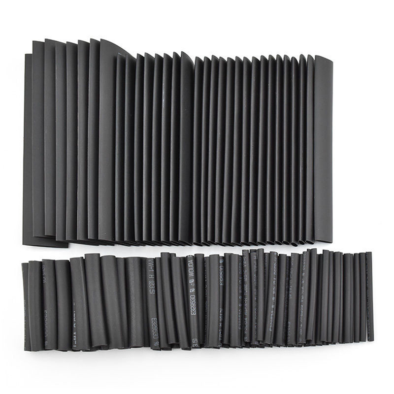 127 PCS 7.28m Black 2:1 Assortment Tubing Tube Car Cable Sleeving Wrap Wire Kit Heat Shrinkable Tool Part недорого