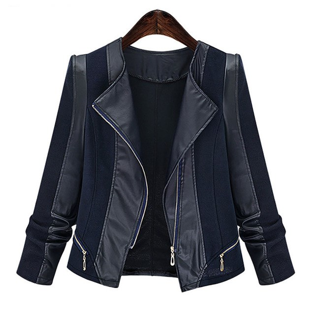 Autumn Winter Plus Size Women Gothic Faux   leather   PU Jacket Women Black Motorcycle Jacket Casual Coats Outerwear