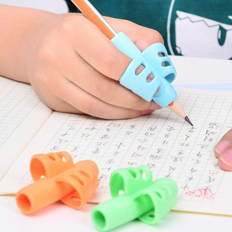 3 Pcs /Lot Double Finger Pen Silicone Baby Learning Writing Tool Correction Device Pencil Stationery Children's Educational Toy
