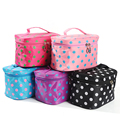 cute dot printed zipper around women Cosmetic Cases trunk large capacity bathroom brushing make up tools collector organizer bag