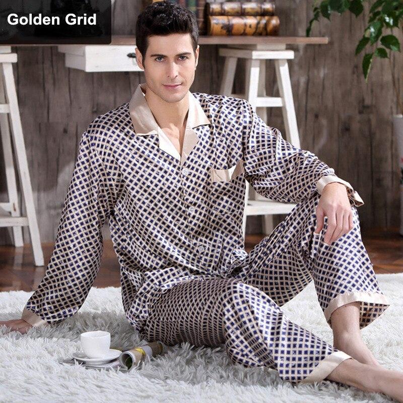 Spring Mens Stain Silk Pajama Set Pajamas Men Sleepwear Modern Style Silk Nightgown Home Male Satin Soft Cozy For Sleeping