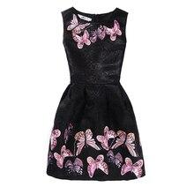 Sleeveless Girls Butterfly Floral Print Dress