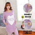 XL lactantes grávida equipado longo-sleeved ternos de pijama mês de mama-alimentação amamentação roupas casuais treino