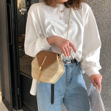 Newest Straw Bags for Women 2019 PU leather Handbag Hexagon MulitStyle Summer Rattan Woven Beach Bohemia Wicker Bag bolso mimbre(China)
