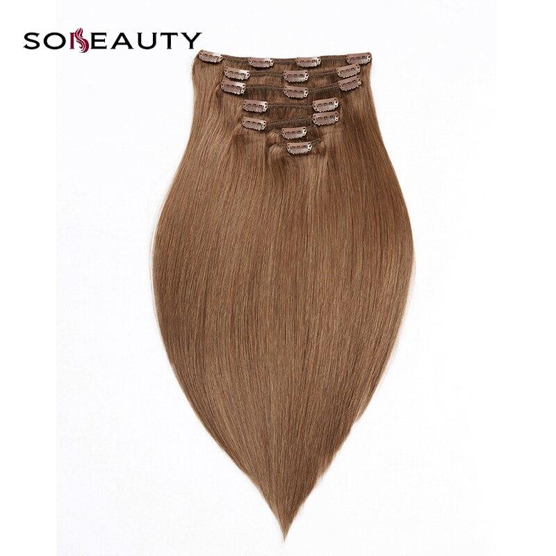 Clip-in Hair Extensions Gerade Haar Clip In Menschliches Haar Extensions Natürliche Braun Remy Visign Haar Clip-ins Vollen Kopf 7 Teile/satz 120 Gramm Kostenloser Versand