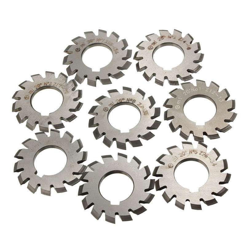 8pcs High Quality HSS M1 PA20 20 Degree Involute Gear Cutters Set #1-8 Assortment Kit For Milling Machine Tool  цены