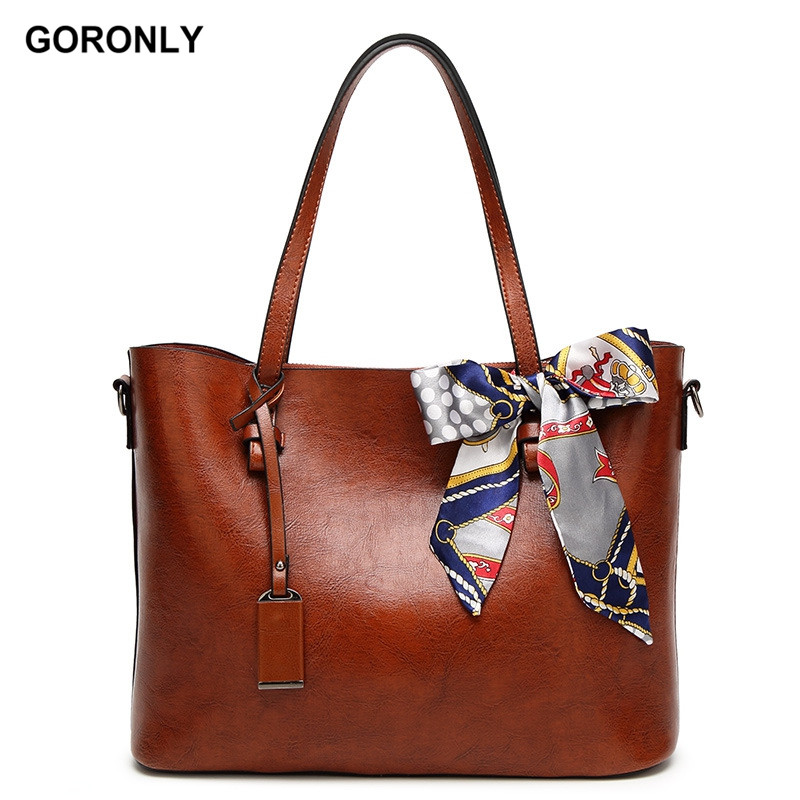577e2a2c4912 GORONLY Brand Leather Tote Bag Women Handbags Designer Large Shoulder Bags  Fashion Ladies Purses Scarf Messenger Bag Bolsas-in Shoulder Bags from  Luggage ...